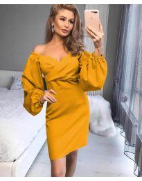 Елегантна рокля в цвят горчица - код 6761