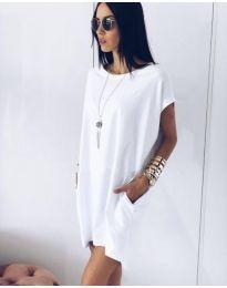 Спортно-елегантна рокля в бяло - код 514