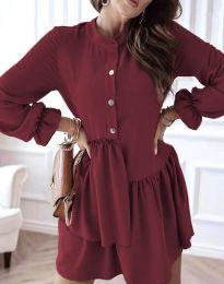 Атрактивна дамска рокля в цвят бордо - код 2829