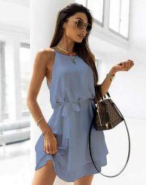 Дамска рокля с колан в синьо - код 9968
