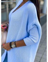 Плетена жилетка в светло синьо - код 4412