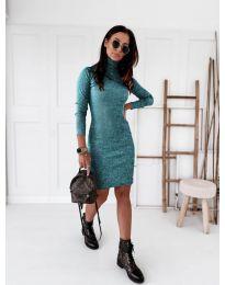 Дамска рокля в тюркоаз - код 5696