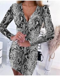 Дамска рокля с ефектен десен - код 6465 - 3