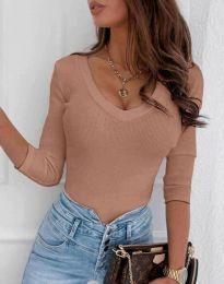 Атрактивна дамска блуза в цвят пудра - код 9908