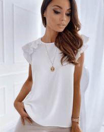 Блуза с ефектни ръкави в бяло - код 3299