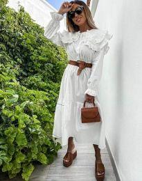 Свободна дамска рокля в бяло - код 0597