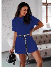 Изчистена дамска рокля в цвят тъмно синьо - код 809