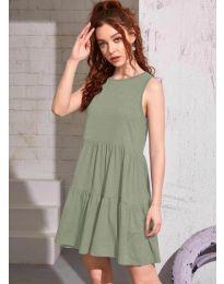 Свободна изчистена рокля в маслено  зелено - код 4471