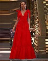 Дълга рокля в червено - код 2743