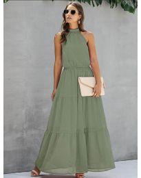 Свободна дълга рокля в маслено зелено - код 8855