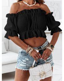 Дамска блуза с голи рамене в черно - код 11898