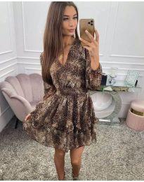 Дамска рокля с ефектен десен - код 8814
