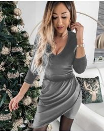 Екстравагантна рокля в сиво - код 2129