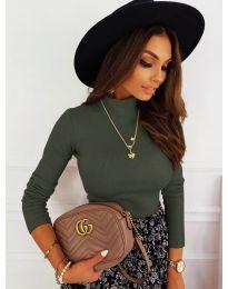 Дамска блуза с поло яка в маслено  зелено - код 7071