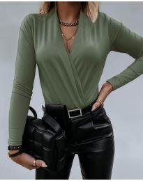 Дамско боди с ефектно деколте в маслено зелено - код 293
