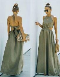 Атрактивна дълга рокля в масленозелено - код 6121