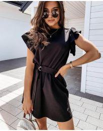 Стилна рокля в черно с колан - код 0071