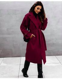 Дамско палто с колан в бордо - код 410