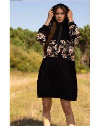 Свободна  дамска рокля в черно - код 4546 - 1