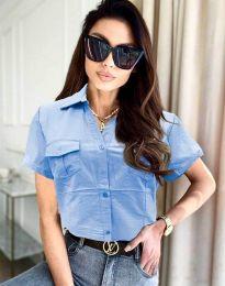 Дамска риза с къс ръкав в светлосиньо - код 0627