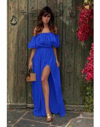 Дълга рокля с цепка в тъмно синьо - код 3336