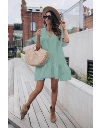 Свободна дамска рокля в цвят мента - код 6868