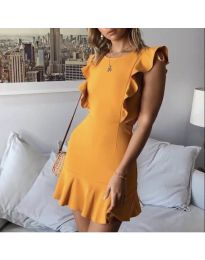 Елегантна рокля в цвят горчица - код 548