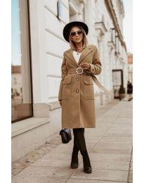 Дълго дамско палто в кафяво  - код 5657