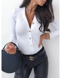 Вталена дамска риза в бяло - код 247