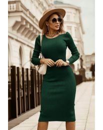 Дамска рокля в тъмно зелено - код 8485