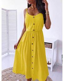 Изчистена рокля цвят жълто - код  5057