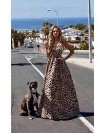 Дълга ефирна рокля с леопардов десен - код 0040
