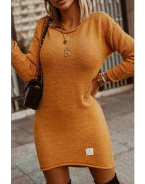 Плетена дамска рокля в цвят горчица - код 0824