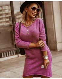 Плетена дамска рокля в цвят циклама - код 0824