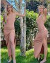 Атрактивна дълга рокля в цвят праскова  - код 7858
