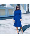 Изчистена дълга рокля в синьо - код 4572