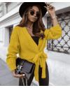 Къса дамска жилетка в цвят горчица - код 2278