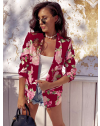 Сако в цвят бордо с флорален десен - код 6131