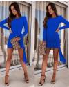 Стилна рокля по тялото в тъмносиньо - код 6515