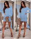Стилна рокля по тялото в светлосиньо - код 6515