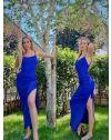 Атрактивна дълга рокля в синьо - код 7858