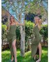 Атрактивна дълга рокля в масленозелено - код 7858