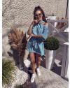 Свободна дамска рокля в тюркоазено синьо - код 022