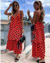 Дълга атрактивна рокля в червено - 8192