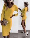 Изчистена рокля в цвят горчица - код 884