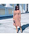 Изчистена дълга рокля в розово - код 4572