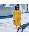 Изчистена дълга рокля в цвят горчица - код 4572
