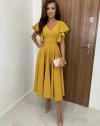 Елегантна дамска рокля в цвят горчица - код 3926
