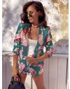 Сако в цвят тюркоаз с флорален десен - код 6131