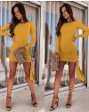 Стилна рокля по тялото в цвят горчица - код 6515